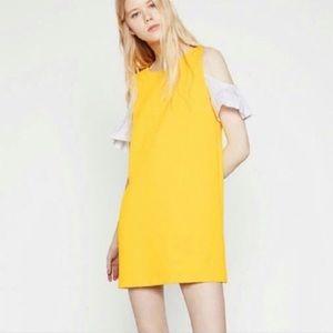 Zara Yellow & White Mod Mini Cold Shoulder Dress S
